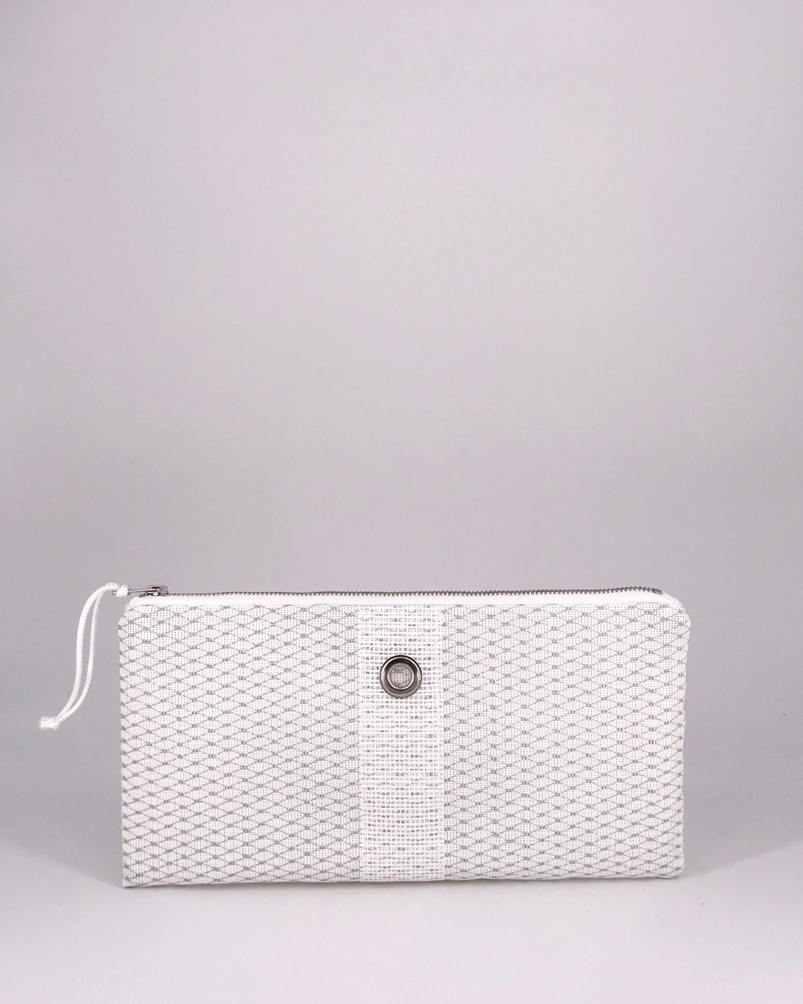 56b528ab584 Alaina Marie ® Mini Silver on White & White Clutch