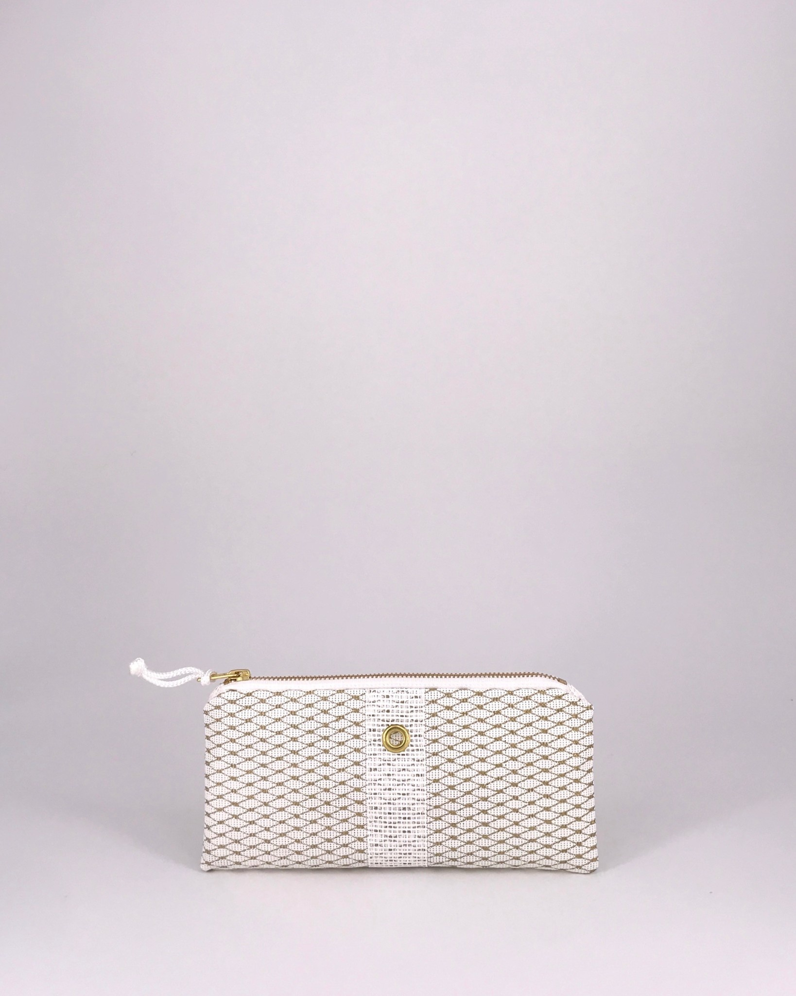 Alaina Marie ® Mini Gold Metallic on White & White Mini Clutch