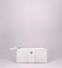 Alaina Marie ® Mini Silver Metallic on White & White Mini Clutch