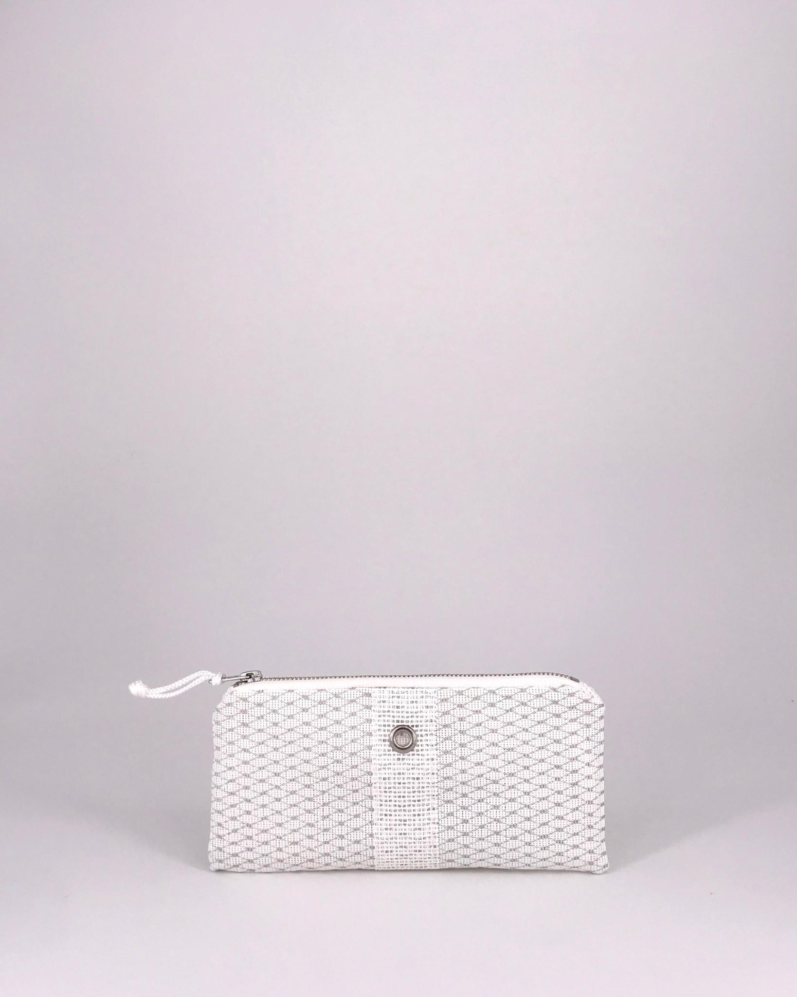 Alaina Marie ® Mini Silver on White & White Mini Clutch