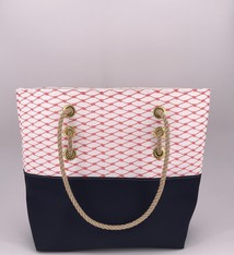Alaina Marie ® Lobster Bisque & Navy Tote