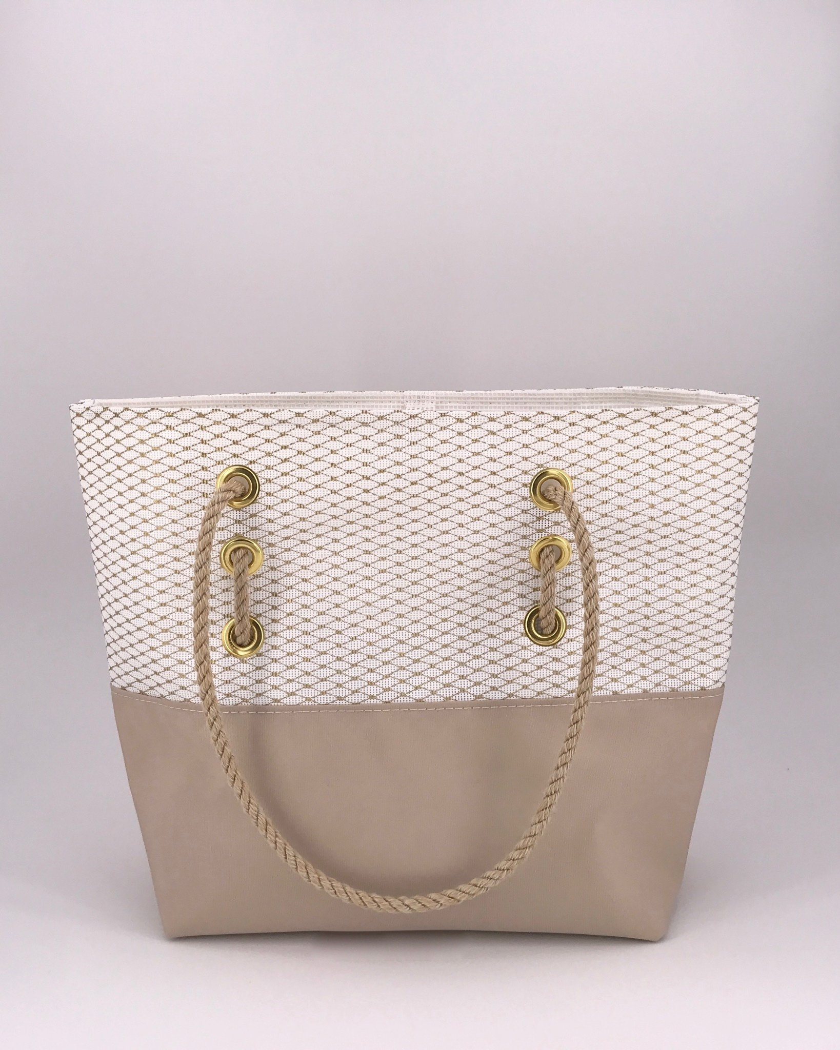Alaina Marie ® Mini Gold Metallic & Khaki Tote