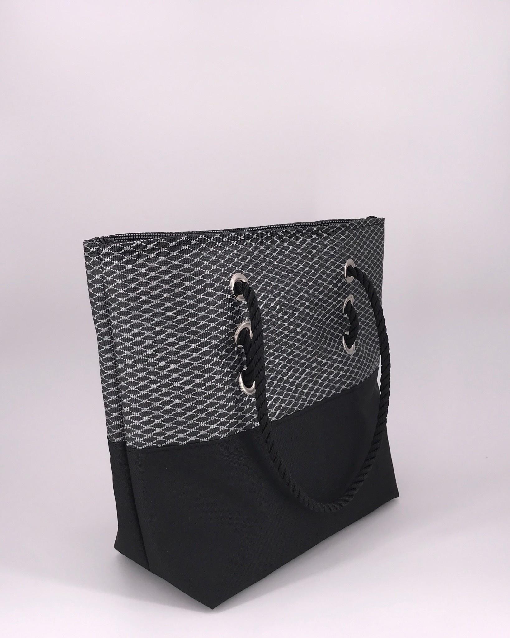 Alaina Marie ® Mini Silver Metallic on Black & Black Tote