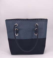 Alaina Marie ® Mini Silver Metallic on Navy & Navy Tote