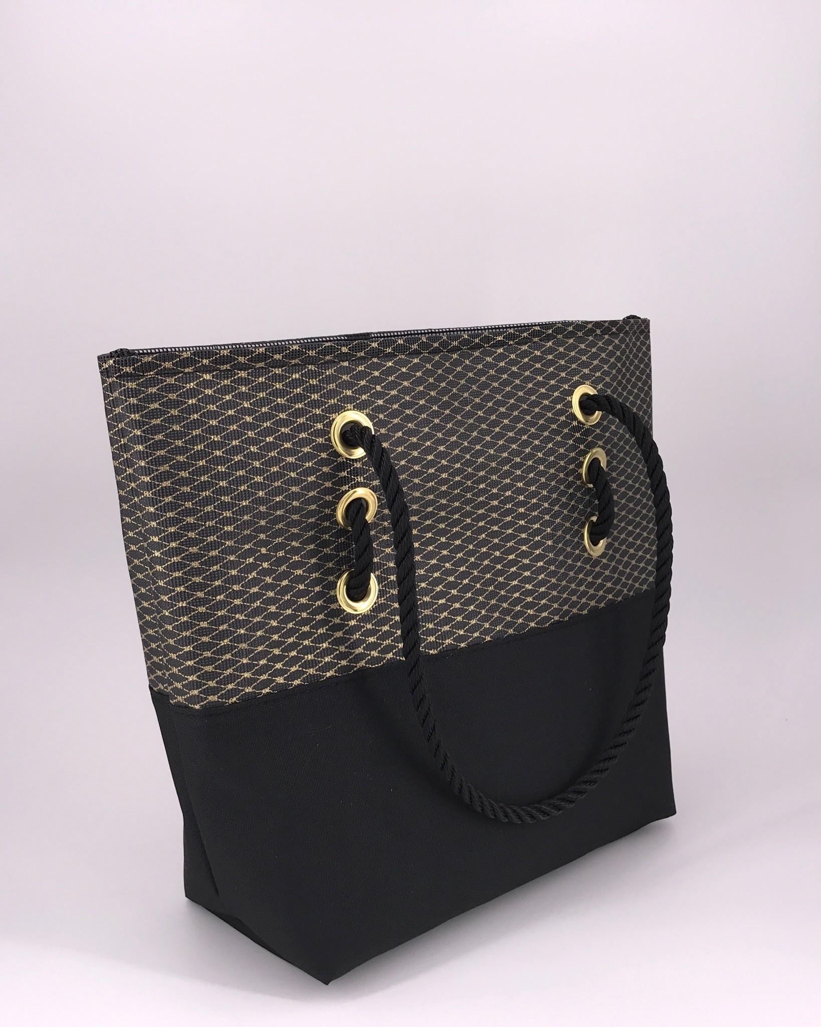 Alaina Marie ® Mini Gold Metallic on Black & Black Tote