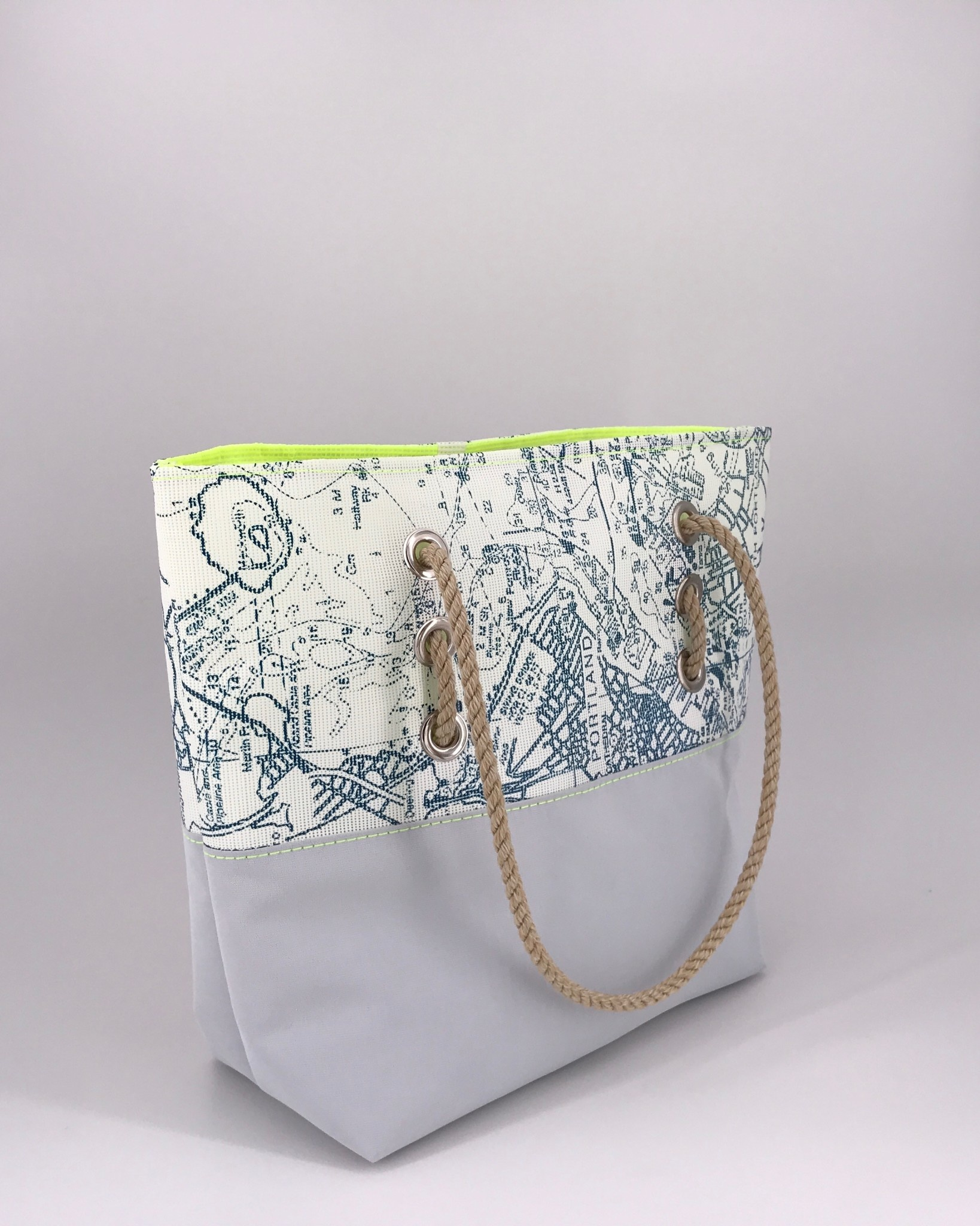 Alaina Marie ® Portland Chart with Citron & Silver Tote