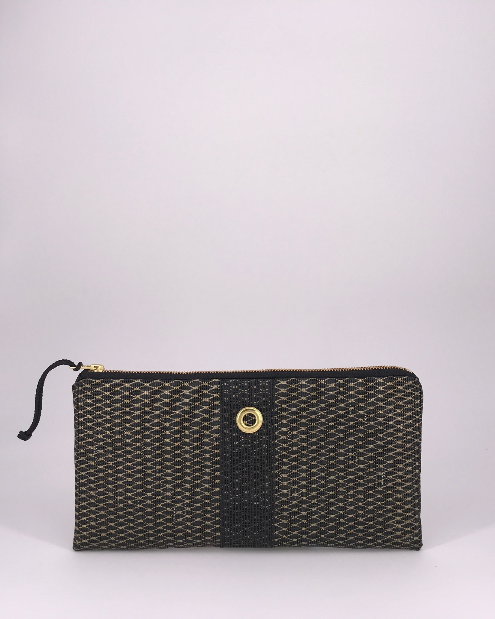 Alaina Marie ® Mini Gold Metallic on Black & Black Clutch
