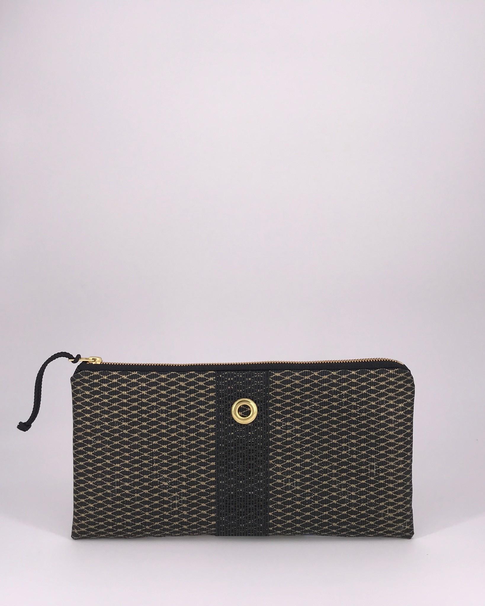Alaina Marie ® Mini Gold on Black & Black Clutch