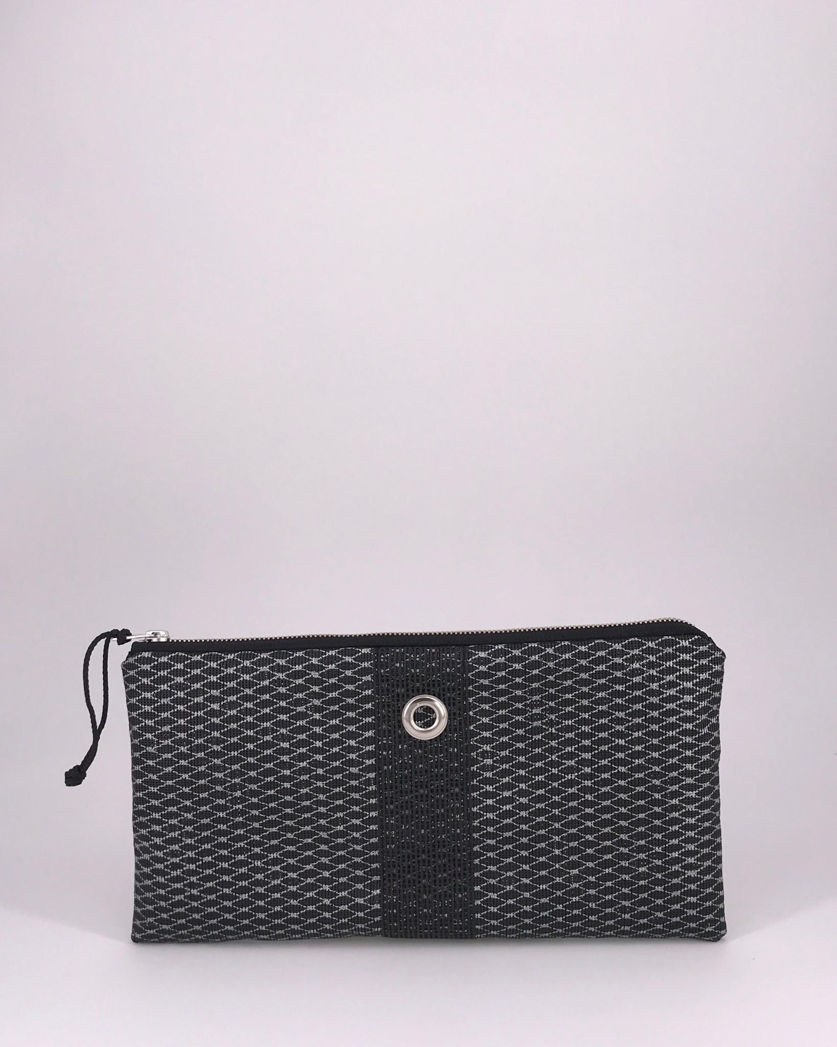 Alaina Marie ® Mini Silver Metallic on Black & Black Clutch