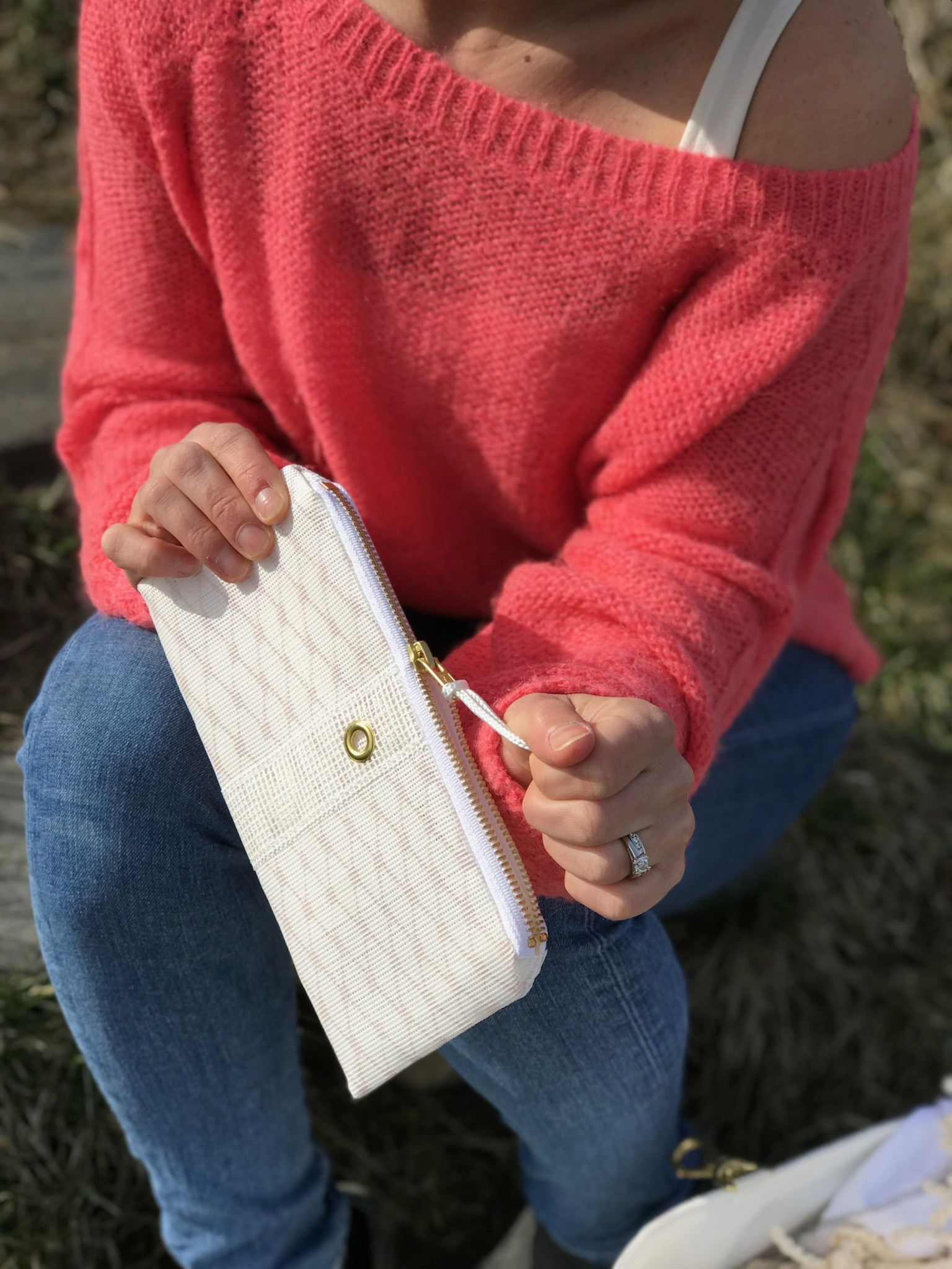 Alaina Marie ® Almost Mauve & White Mini Clutch