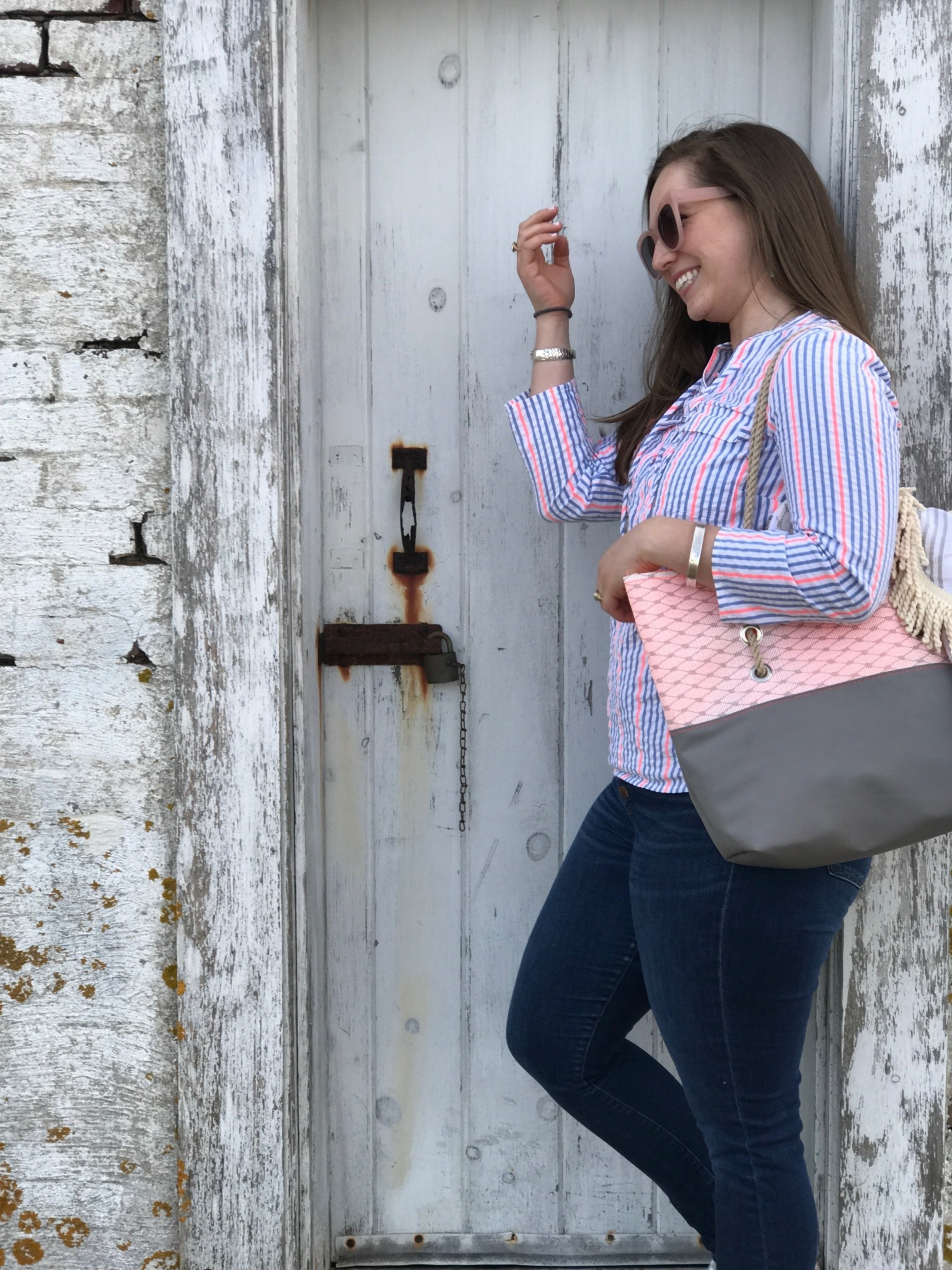 Alaina Marie ® Harbor Mist with Coral & Charcoal Tote