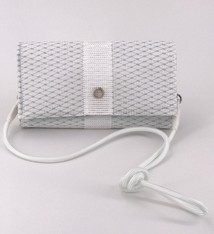 Alaina Marie ® Mini Silver Metallic & White Crossbody