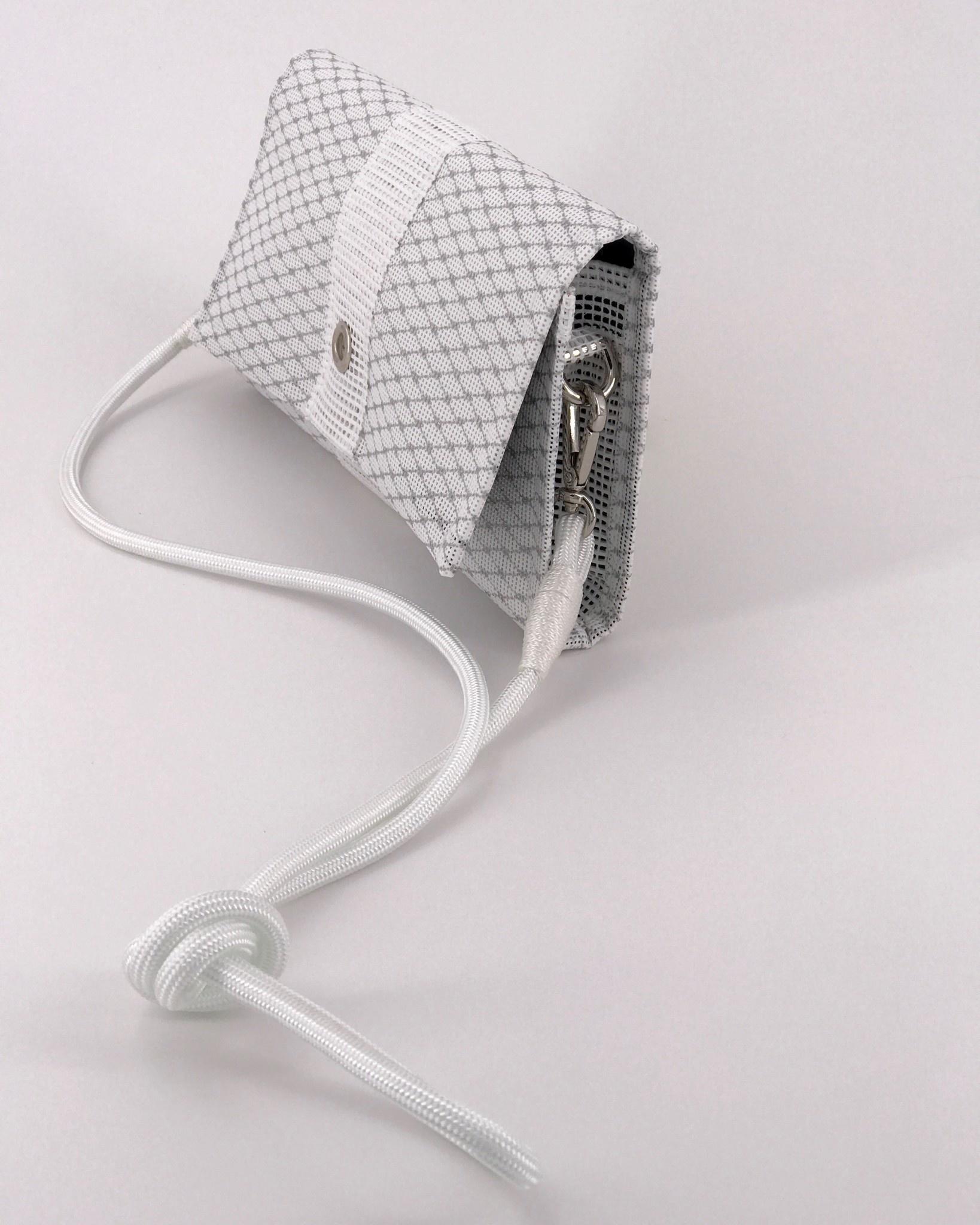 Alaina Marie ® Mini Silver Metallic & White Crossbody