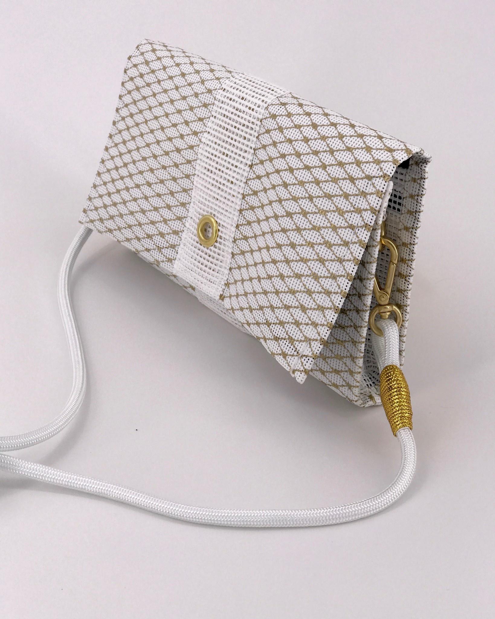 Alaina Marie ® Mini Gold Metallic & White Crossbody
