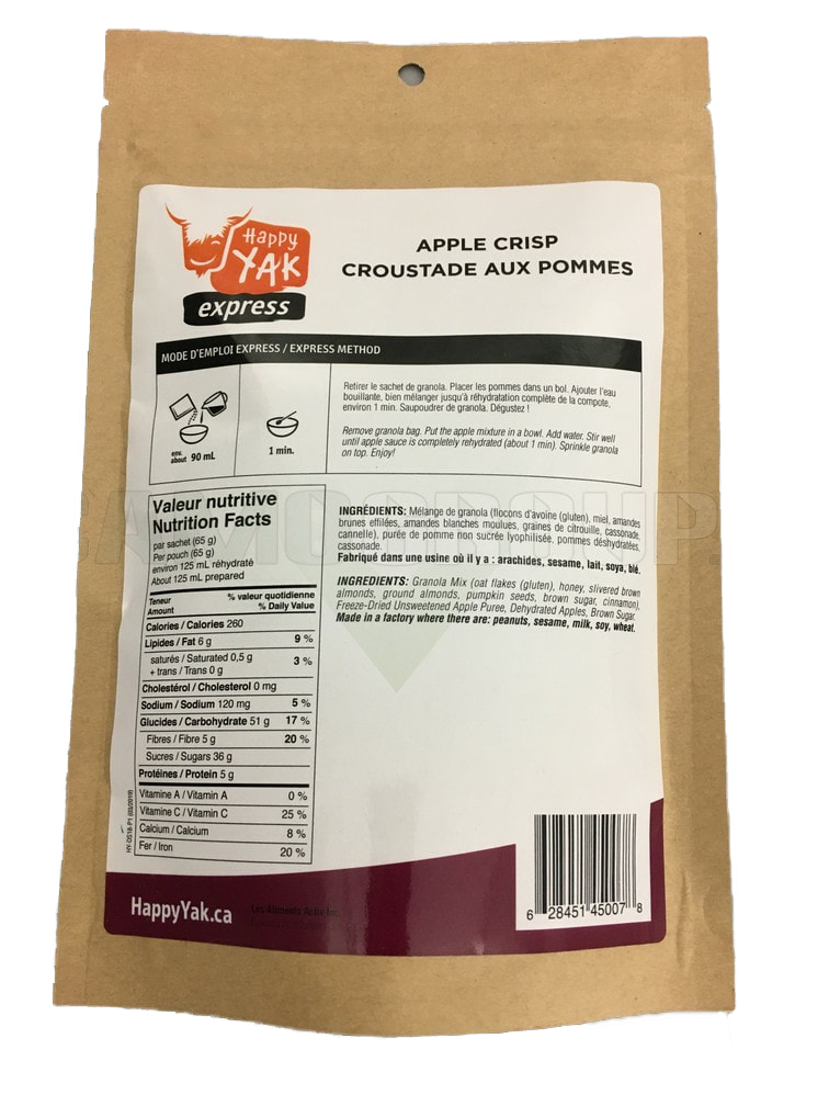 HAPPY YAK Happy Yak Apple Crisp Lactose Free