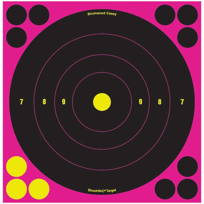 """Birchwood Casey Shoot N C 8"""" Sight In Target 6pk Pink"""