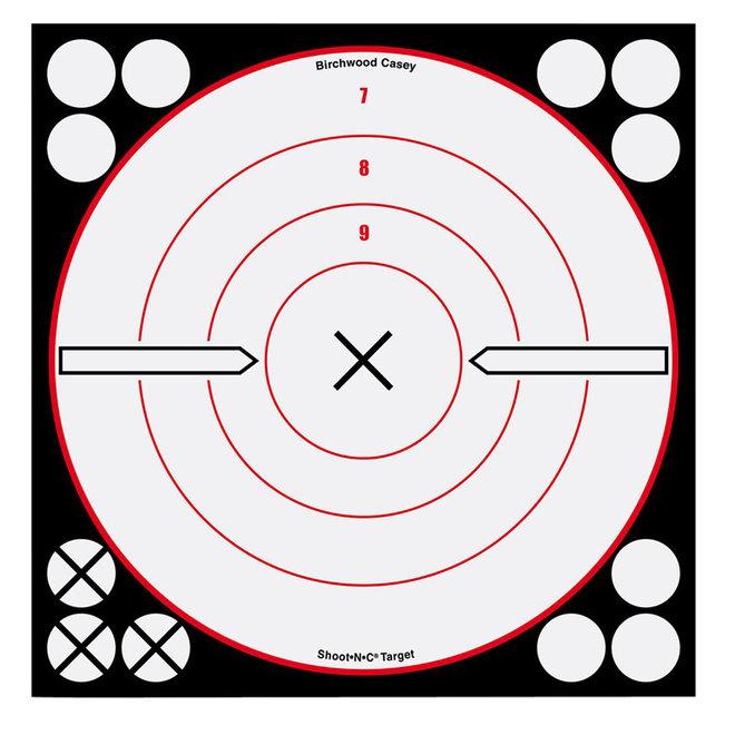 "Birchwood Casey Shoot N C 8"" Target 6pk White/Black"