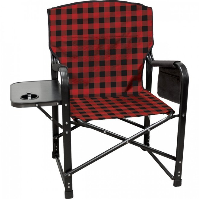 Kuma Bear Paws Chair With Side Table - Red Plaid