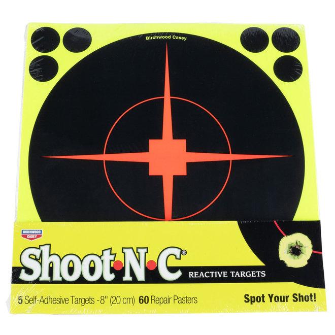 """Birchwood Casey Shoot N C 8"""" Reactive Target 5 Pack w/ 60 Repair Pasters"""