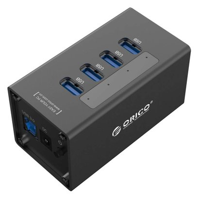 ORICO ORICO 4 Port Aluminum HUB with 12V2.5A Power Adapter and 3.3Ft. USB3.0 Date Cable - Black(A3H4)