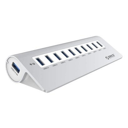 ORICO ORICO Aluminum 10 Port USB 3.0 Hub with 12V3A Power Adapter, 3.3FT USB 3.0 Cable, - Silver (M3H10)