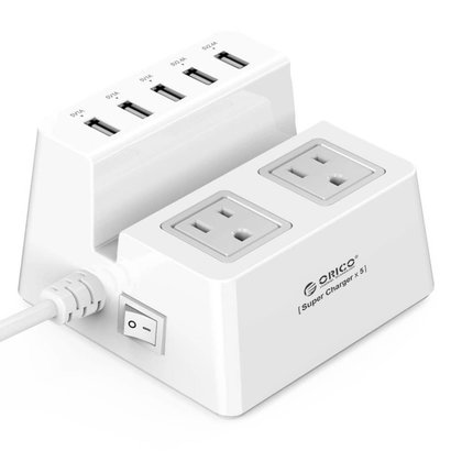 ORICO ORICO ODC-2A5U-US-WH Surge Protector Strip 5 USB Super Charging Ports w/ 2 Surge Outlets Stand For Tablet / Smart Phones US Plug - White