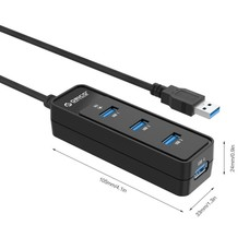 ORICO ORICO Mini Portable 4 Port USB 3.0 Hub Built-in 8 inch USB 3.0 Cable for iPhone 5s 6 6s Sumsung Galaxy Windows Mac PC Laptop Desktop (W5PH4-U3-Black)