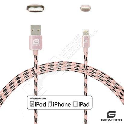 Gigacord Gigacord ClothARMOR iPhone/iPad/iPod Lightning 8 pin Charge/Sync Cable w/Strain Relief, Cloth Braiding, Ultra Slim Aluminum Connectors, 1 Year Warranty, Rose/Black (Choose Length)