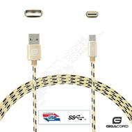 Gigacord Gigacord ClothARMOR USB-C Type-C 24-pin Charge/Sync Cable w/Strain Relief, Cloth Braiding, Ultra Slim Aluminum Connectors, 1 Year Warranty, Gold/Black (Choose Length)