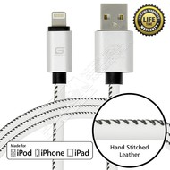 Gigacord Gigacord LeatherARMOR iPhone/iPad/iPod Lightning 8 pin Charge/Sync Cable w/Strain Relief, Premium Leather, Anodized Aluminum Connectors, Lifetime Warranty, White w/ Black Stitch (Choose Length)