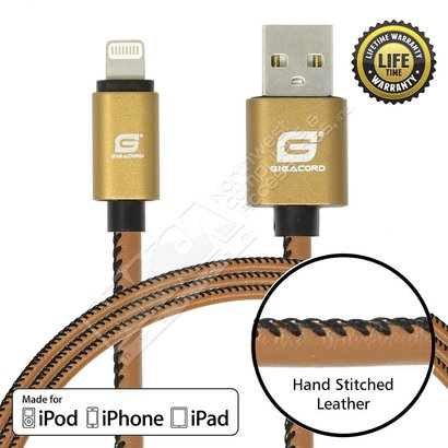 Gigacord Gigacord LeatherARMOR iPhone/iPad/iPod Lightning 8 pin Charge/Sync Cable w/Strain Relief, Premium Leather, Anodized Aluminum Connectors, Lifetime Warranty, Light Brown w/ Black Stitch (Choose Length)