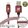 Gigacord Gigacord LeatherARMOR iPhone/iPad/iPod Lightning 8 pin Charge/Sync Cable w/Strain Relief, Premium Leather, Anodized Aluminum Connectors, Lifetime Warranty, Red w/ White Stitch (Choose Length)