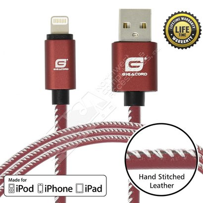 Gigacord Gigacord LeatherARMOR iPhone/iPad/iPod Lightning 8 pin Charge/Sync Cable w/Strain Relief, Premium Leather, Anodized Aluminum Connectors, Lifetime Warranty, Red w/ White Stitch (3 - 6ft.)