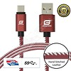 Gigacord Gigacord LeatherARMOR USB Type-C 24-pin Charge/Sync Cable w/Strain Relief, Premium Leather, Anodized Aluminum Connectors, Lifetime Warranty, Red w/ White Stitch (3 - 6ft.)