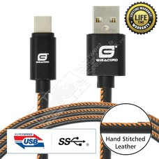 Gigacord Gigacord LeatherARMOR USB Type-C 24-pin Charge/Sync Cable w/Strain Relief, Premium Leather, Anodized Aluminum Connectors, Lifetime Warranty, Black w/ Orange Stitch (3 - 6ft.)