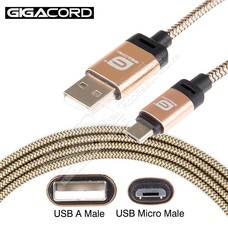 Gigacord Gigacord BlackARMOR2 Samsung USB Micro 5-pin Charge/Sync Cable w/Strain Relief, Nylon Braiding, Tapered Aluminum Connector, Lifetime Warranty, Gold (3 - 10ft.)