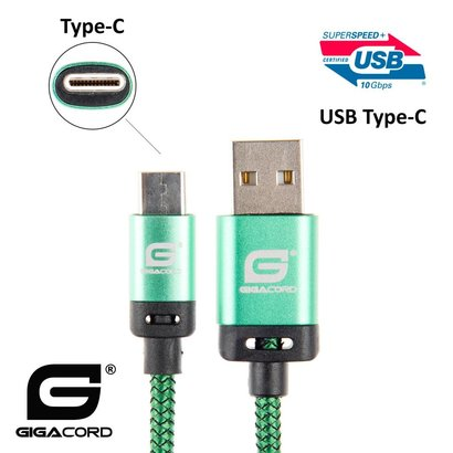 Gigacord Gigacord BlackARMOR2 Samsung USB Type-C 24-pin Charge/Sync Cable w/Strain Relief, Nylon Braiding, Anodized Aluminum Connectors, Lifetime Warranty, Green (3 - 10ft.)