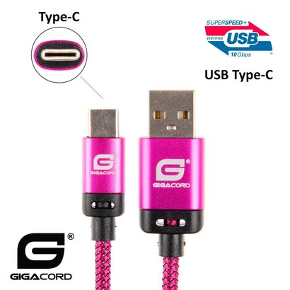 Gigacord Gigacord BlackARMOR2 Samsung USB Type-C 24-pin Charge/Sync Cable w/Strain Relief, Nylon Braiding, Anodized Aluminum Connectors, Lifetime Warranty, Dark Pink (3 - 10ft.)
