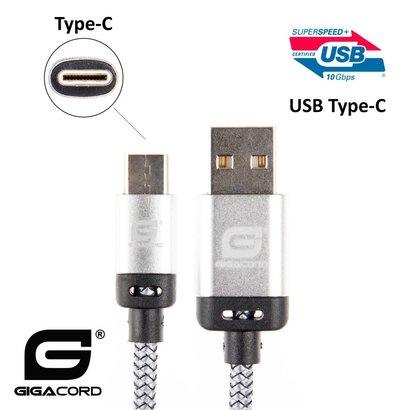 Gigacord Gigacord BlackARMOR2 Samsung USB-C Type-C 24-pin Charge/Sync Cable w/Strain Relief, Nylon Braiding, Anodized Aluminum Connectors, Lifetime Warranty, White (Choose Length)