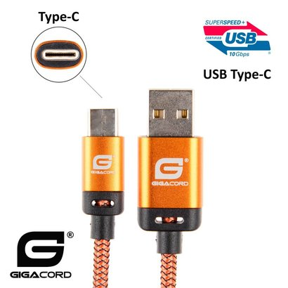 Gigacord Gigacord BlackARMOR2 Samsung USB Type-C 24-pin Charge/Sync Cable w/Strain Relief, Nylon Braiding, Anodized Aluminum Connectors, Lifetime Warranty, Orange (3 - 10ft.)