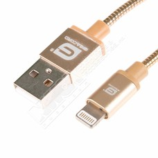 Gigacord 3Ft Gigacord MetalARMOR iPhone/iPad/iPod Lightning 8 pin Charge/Sync Cable w/Strain Relief, Metal Braiding, Ultra Slim Aluminum Connectors, 1 Year Warranty (Gold)