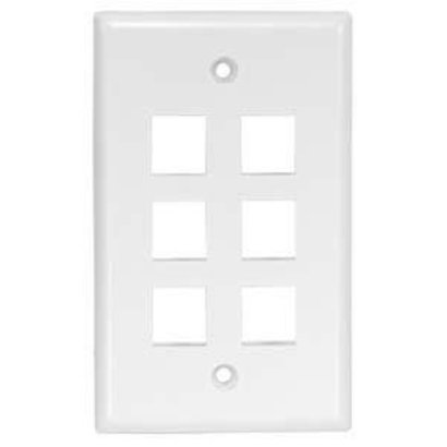 6Port Keystone Wallplate White