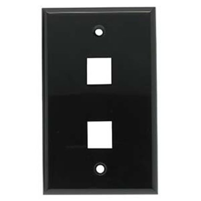 2 Port Keystone Wall Plate Black