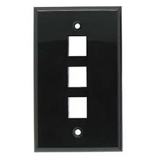 3 Port Keystone Wall Plate Black