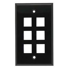 6 Port Keystone Wall Plate Black