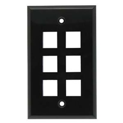 6 Port Keystone Wall Plate Black