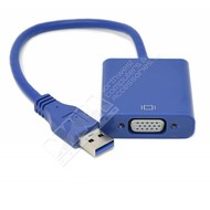USB 3.0 Male to VGA Female Converter, Blue, Win7
