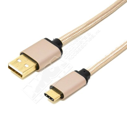 6ft. USB Type C to USB2.0 A Male Cable with Gold Aluminium Case and Braid,Golden Plated Connector