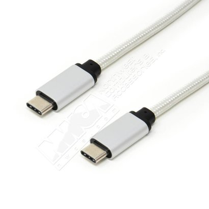 3ft. USB Type C to Type C with Silver Aluminium Case and Braid 480Mbps Cable