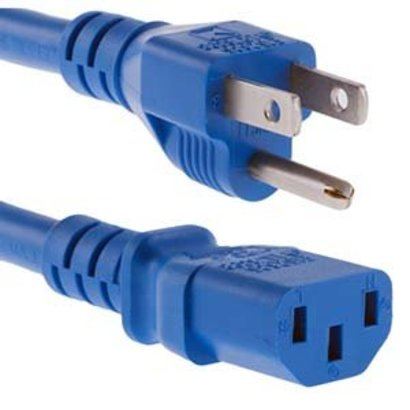 1Ft Power Cord C13-515P SJT 125V 15Amp Blue